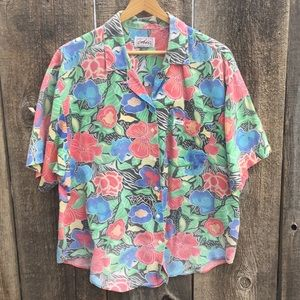 VTG 80s-90s Tropical Floral Aloha Shirt, Plus Size